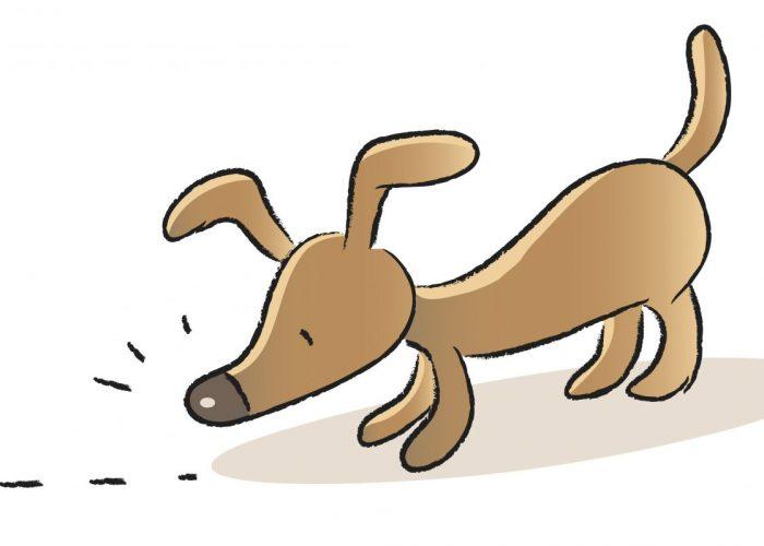 Cartoon of dog sniffing
