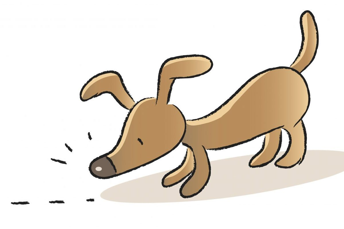 Cartoon of dog sniffing